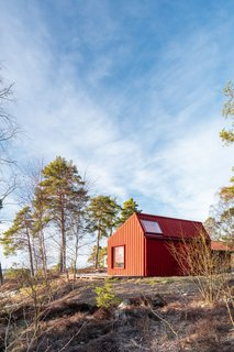 Tall pine trees and rocky terrain create a rugged feeling for the tiny house, which ties to its landscape.