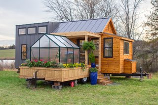 Happiness Is a Scandinavian-Inspired Tiny House With a Greenhouse and a Porch Swing