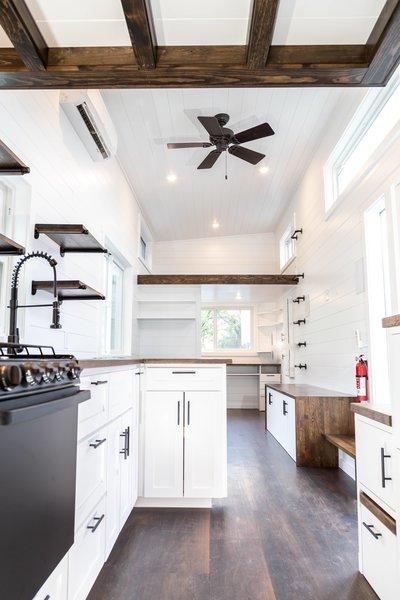 White Cabinets Dark Hardwood Floors