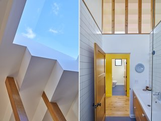 Left: The skylight in the bathroom where there's a tub and shower exposes a rectangular swath of bright blue sky. Right: The designers separated the functions of a bath, housing a toilet in one and a bathing area in the other.