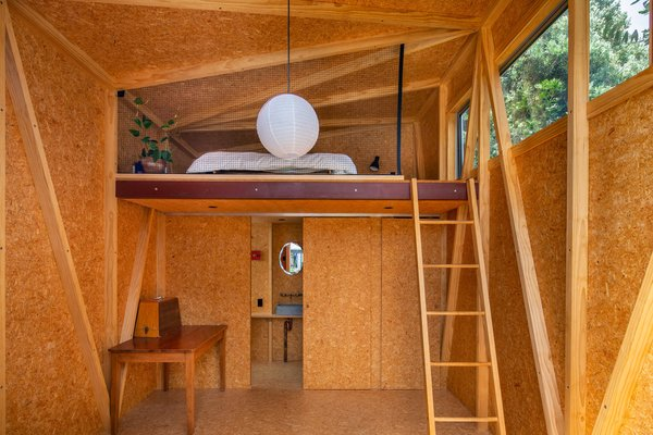 A translucent pergola shades this 183-square-foot studio made from hardy OSB.