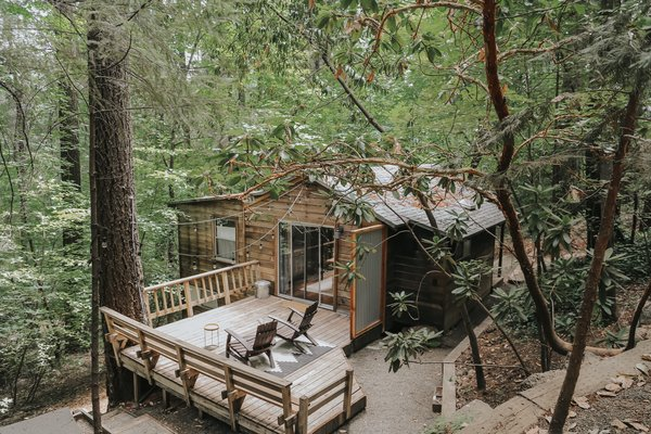 "Nestled among towering fir trees and magnificent dogwoods in Cobb, California—just an hour north of Napa Valley—is the 700-square-foot cabin Hope Mendes recreated as an idyllic family escape. ""We've always had a dream of owning and renovating a cabin in the woods,"" Hope says, ""a place [where] we could take our kids when we need to get away from the hustle and bustle of our work lives."""