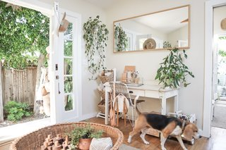 Whitney, who's constantly updating her tiny cottage, has transformed the entry into an office area.