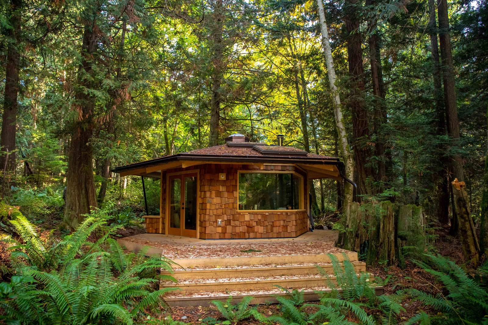 Exterior, Tiny Home, Metal, Wood, and Hipped The hexagonal backyard studio that Marlin and Ryan Hanson designed and built in British Columbia, Canada, is clad with western red cedar shakes and a metal roof.  Exterior Tiny Home Hipped Photos from Two Brothers Build a Woody, Hexagonal Studio in the Forest