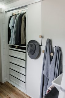 In an effort to make getting dressed easy, the Perezes included a six-foot closet on the first level in the large bathroom area.