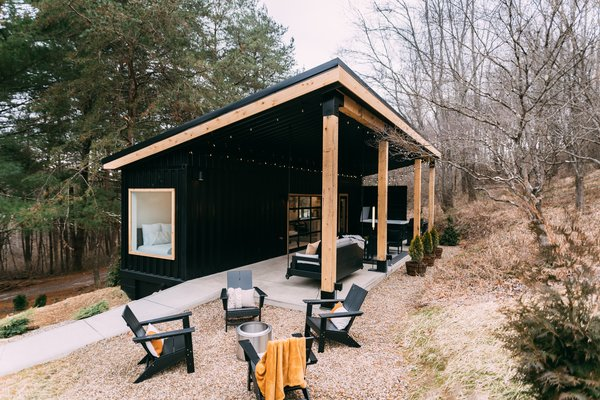 The Lily Pad is a 280-square-foot shipping container home located near Hocking Hills State Park, Ohio.
