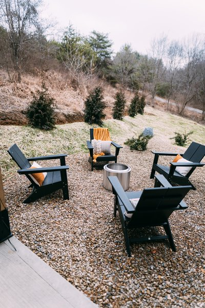 """""""The fire pit area seats four and is great for making s'mores,"""" says Dianna."""