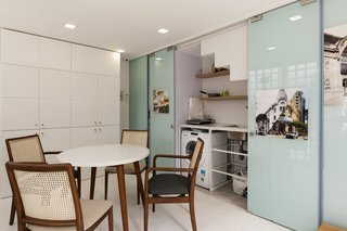 The kitchen, dining space and laundry area are also located on the ground level.