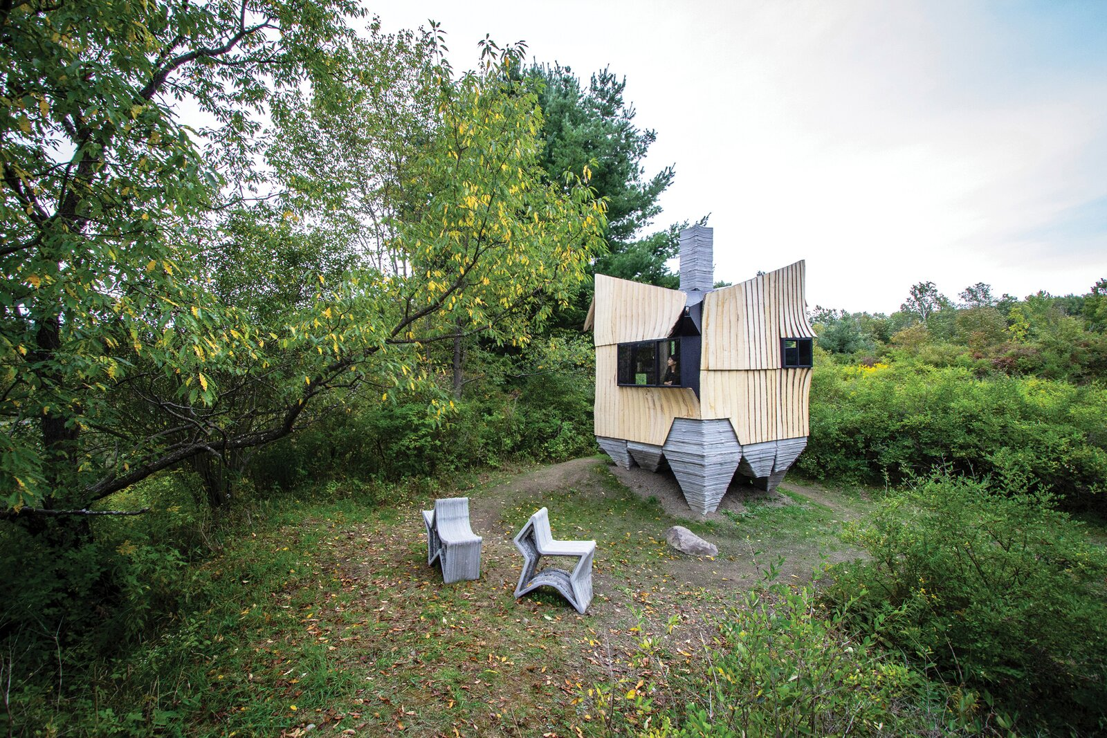 HANNAH utilizes salvaged materials, 3D printing, and robotic technology to create an otherworldly cabin in upstate New York.