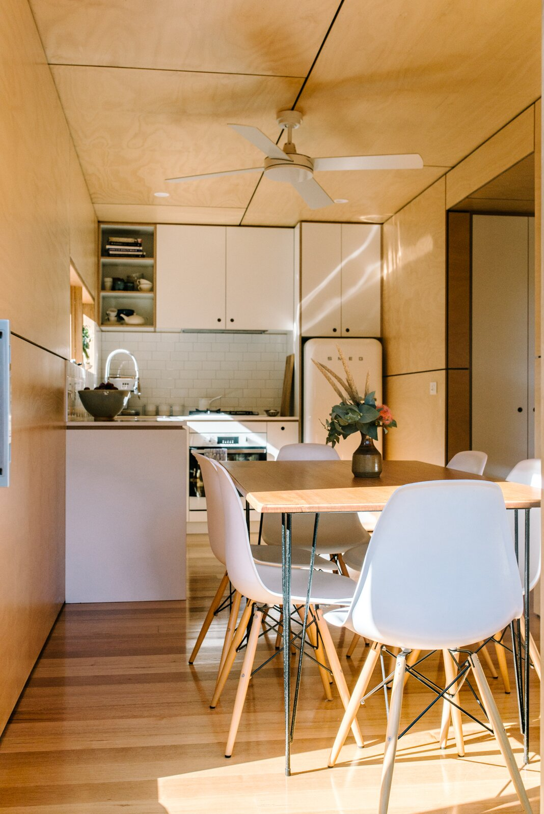 Wattle Bank shipping container tiny home kitchen and dining area