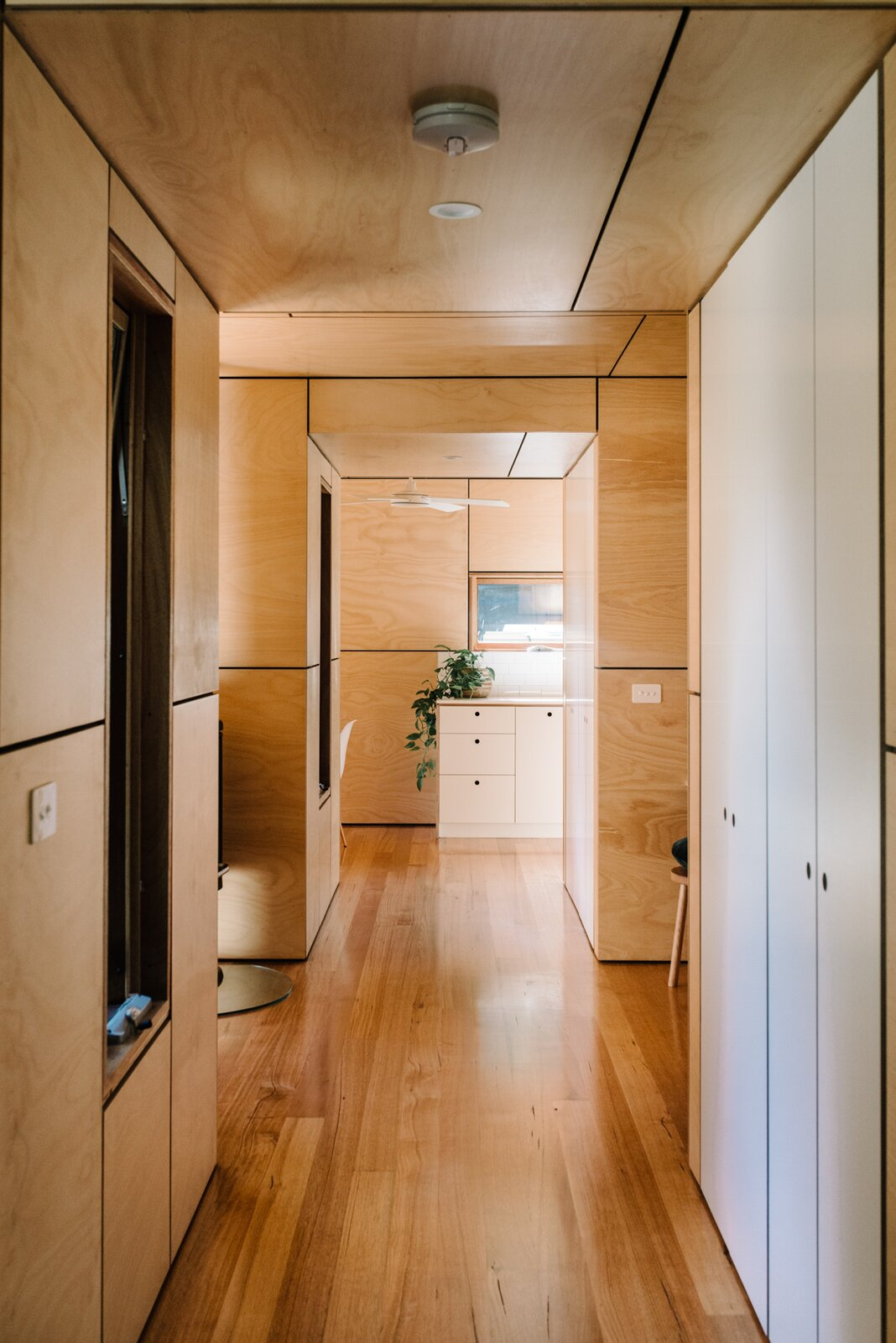 Wattle Bank shipping container tiny home hallway