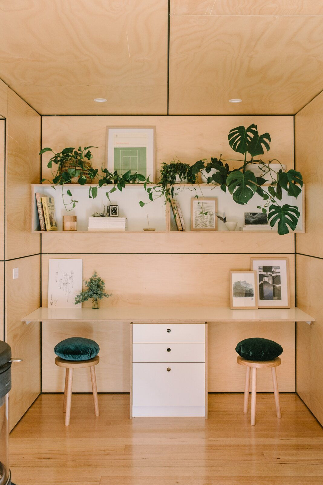 Wattle Bank shipping container tiny home built-in office nook