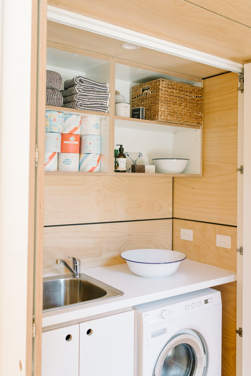 Wattle Bank shipping container tiny home laundry