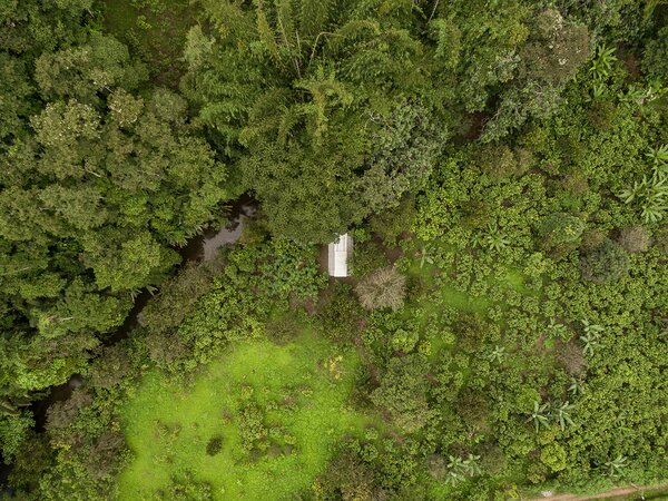 Lush vegetation and a small river mark the natural landscape that surrounds the cabin.