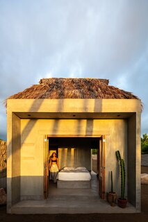 The palapa roof is a nod to traditional Mexican architecture.