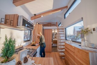 """""""We give every client a questionnaire,"""" Kevin says. """"The first question asks what they need in their home. No compromise. The second question asks what they want in their home. And the third question asks what would blow their mind. At the end of the day, I'm looking to fit all of those things into their tiny home."""""""