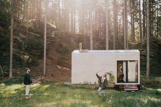 The couple built the cabin in Poland and eventually moved it to near the shore of Packer Lake in Austria.