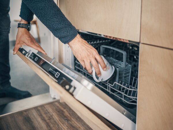 The designer outfitted the kitchen with a compact dishwasher, which is hidden within the birch veneer cabinetry.