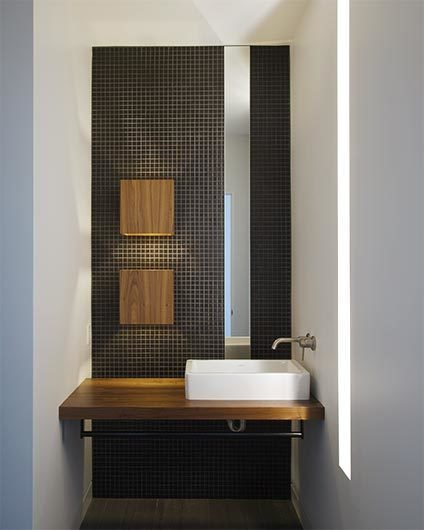 Bath Room and Vessel Sink #interior #bathroom #tile #kansascity #baulinderhaus #hufft  Photo credit by Mike Sinclair  BauLinder Haus by Hufft
