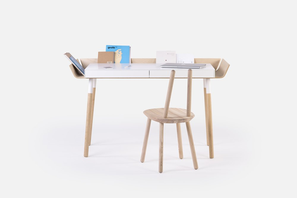 """When Lithuanian-born Designer Inesa Malafej designed """"My writing desk"""" (MWD) for Emko, she was aiming to reduce clutter that creative work brings to the table. The result is a desk which has its storage space organized around the table-top, so necessary objects can always be in sight, tidy and easily accessible.  Photo 8 of 8 in Think Beyond the Nursery Days With These 11 Hardworking Pieces For Your Kid's Room"""
