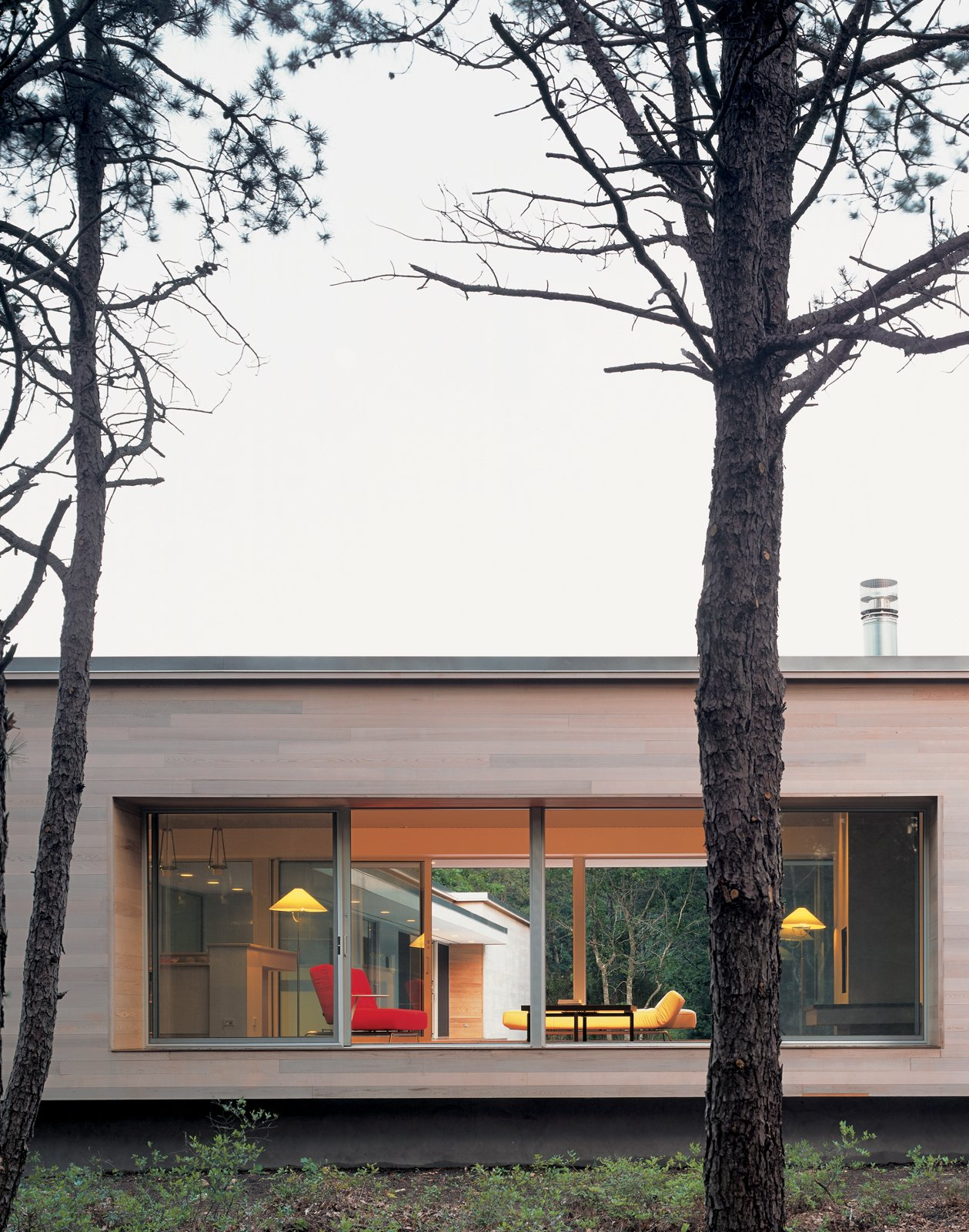 Viewed from the street, the house's kitchen/living area, raised on a platform with massive picture windows, resembles a stage. Banks and Lazar plan to enhance privacy by planting trees and shrubs.  Photo 2 of 11 in Spotted: 10 Modern Homes in the Hamptons