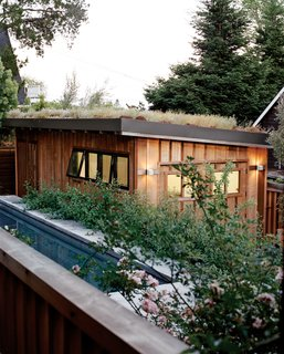 A green roof blooms atop the detached garage.