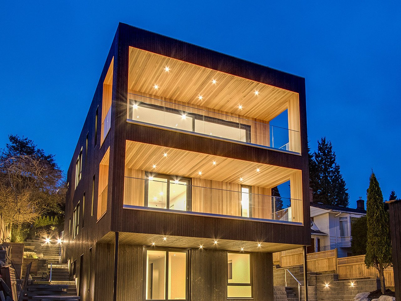 Located within close proximity to downtown Vancouver and the North Shore Mountains, Paradigm is a custom built BONE Structure home, boasting Net Zero Energy efficiency. Designed and assembled with a patented galvanized steel construction system inspired by the aerospace industry--each home designed BONE Structure uses 3D software and each individual piece of steel required for the project is laser cut.  Photo 3 of 12 in 11 of Our Favorite Pacific Northwest Homes From the Community