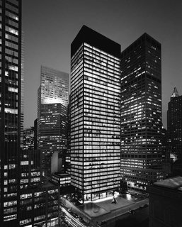 Setting the standard for the modern skyscraper, the 38-story Seagram Building is located in the heart of New York City on Park Avenue. The elegant structure was Mies' first tall office building construction and embodies the principles of modernism.