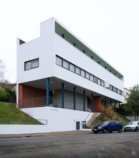 The Weissenhofsiedlung (Weissenhof Estate)—an experimental housing development on the outskirts of Stuttgart—is home to this two-family structure, Houses 14 and 15. Designed by Le Corbusier and Pierre Jeanneret in 1927, it's one of the earliest examples of the Five Points of a New Architecture.