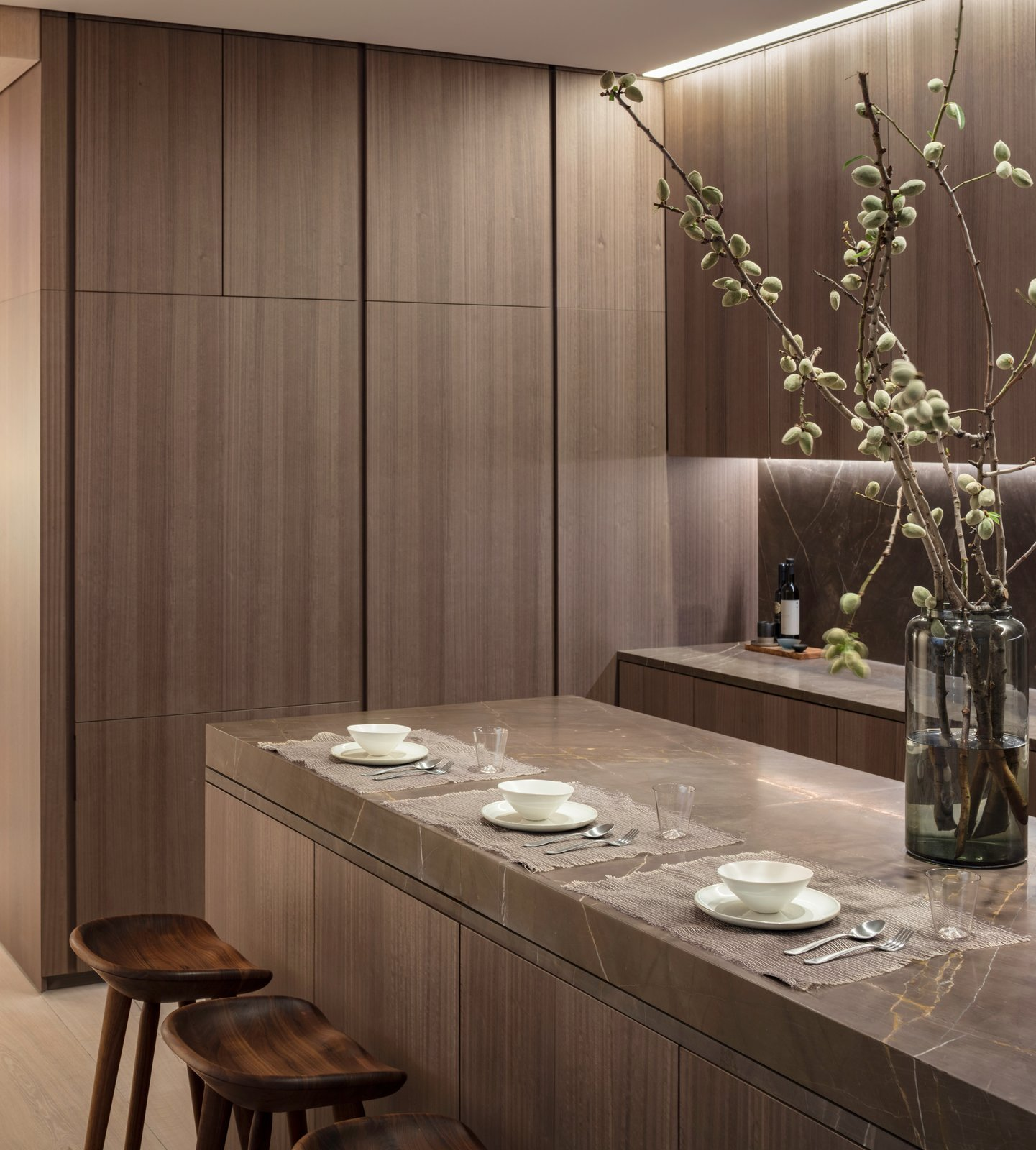 Kitchen The kitchen offers enhanced flexibility with a custom sliding Fango marble countertop by the Italian brand Minimal.  Photo 5 of 10 in A Look Into NYC's 152 Elizabeth Street, Tadao Ando's First Residential Project Outside of Asia