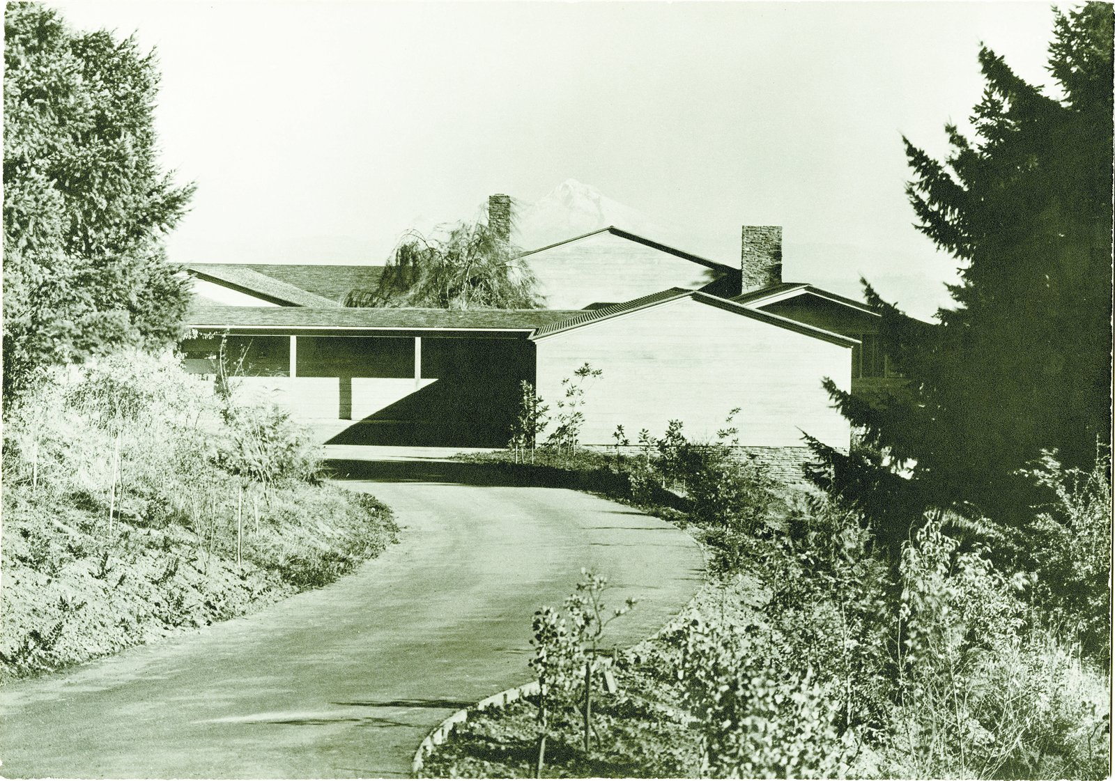 The black and white image captured the roof angles perfectly mirroring Mt. Hood.  Photo 2 of 15 in Spotlight on John Yeon, the Father of Northwest Regional Architecture