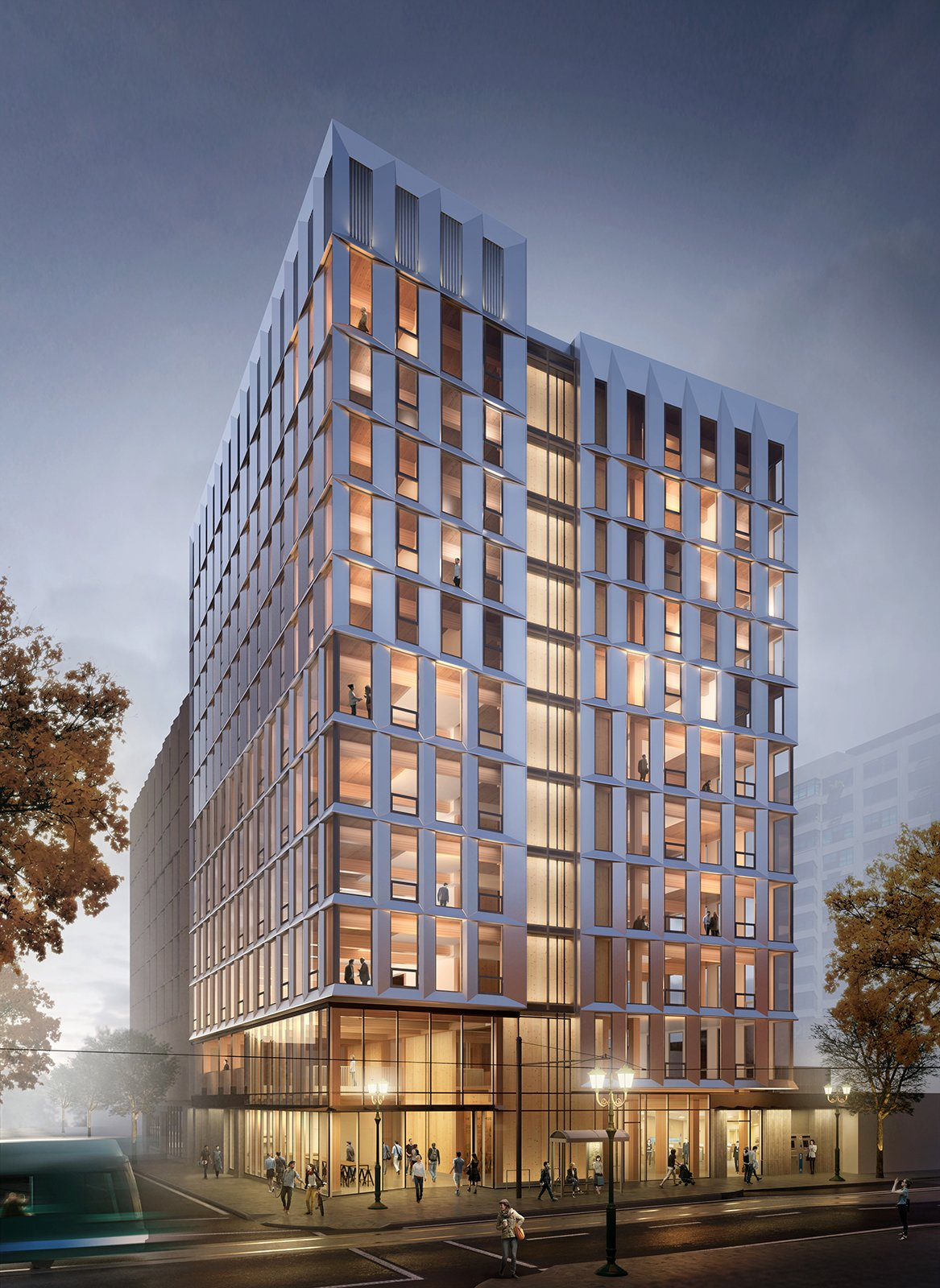 Exterior and Apartment Building Type Exterior rendering of Framework  Photo 2 of 7 in The First Mass Timber High-Rise Building in the U.S. Gets the Green Light For Construction