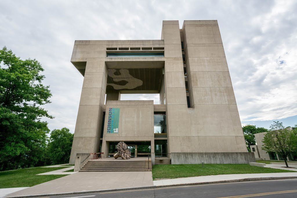 Situated on a 1,000-foot slope that overlooks Lake Cayuga in Ithaca, the museum was designed by I.M. Pei and John L. Sullivan, with additional help from the firm Pei Cobb Freed & Partners. Totalling 61,000 square feet, the museum has nine stacked floors which house the exhibition spaces.  Photo 4 of 12 in 10 I.M. Pei Buildings We Love