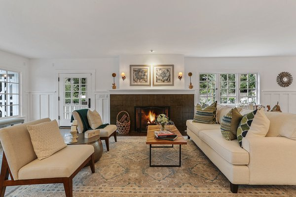 The open and spacious living area plan is also ideal for hosting guests. After an extensive renovation, the property showcases how to improve a home's performance while maintaining its architectural integrity.  Photo 5 of 11 in With an Architectural Pedigree and Green Certification, This Pasadena Home Just Listed For $3.6M