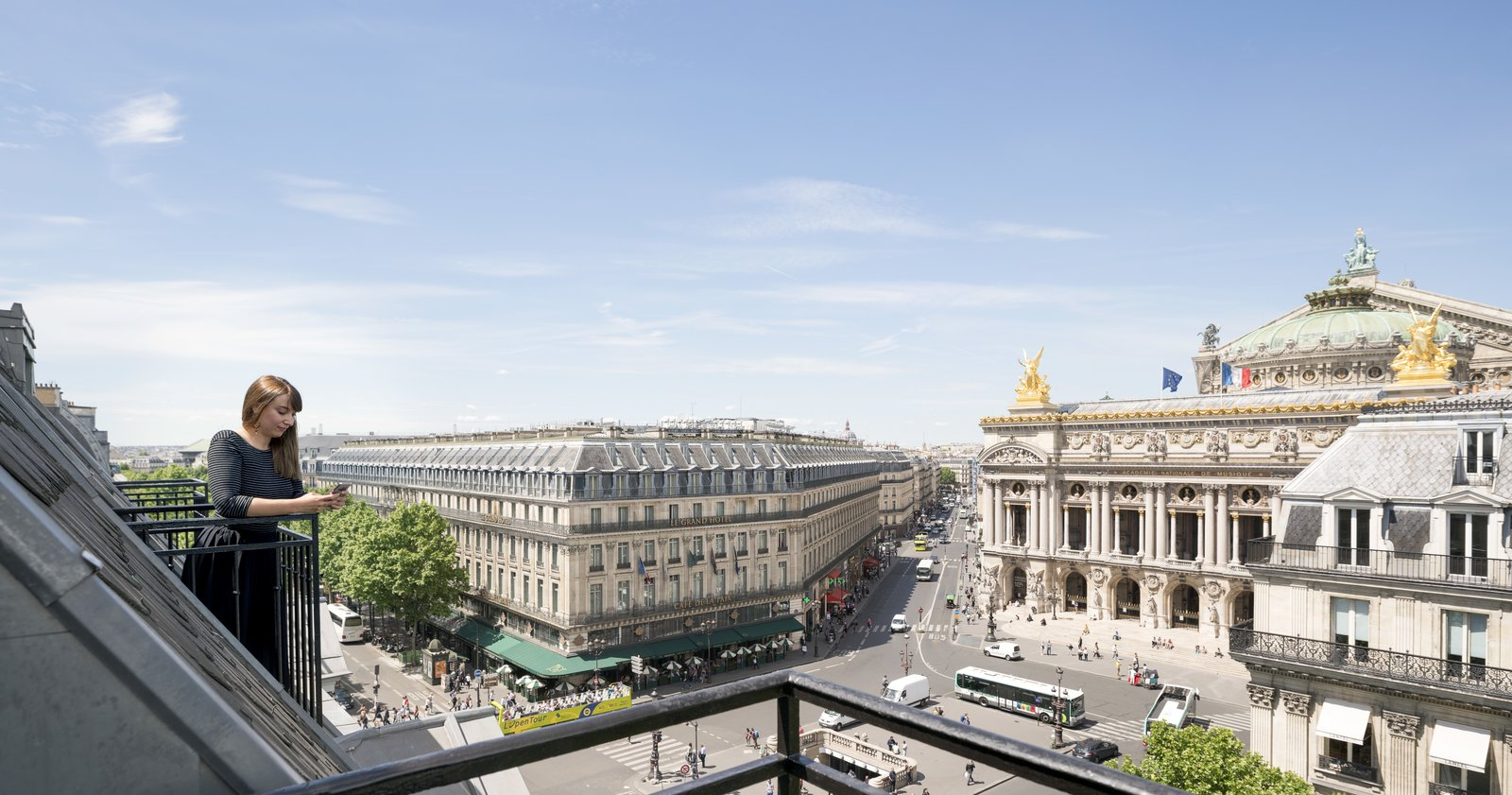 Guests and staff can also enjoy incredible views of the Eiffel Tower and Opera Garnier.  Photo 14 of 14 in Take a Peek Inside Airbnb's New Loft-Inspired Office Space in Paris