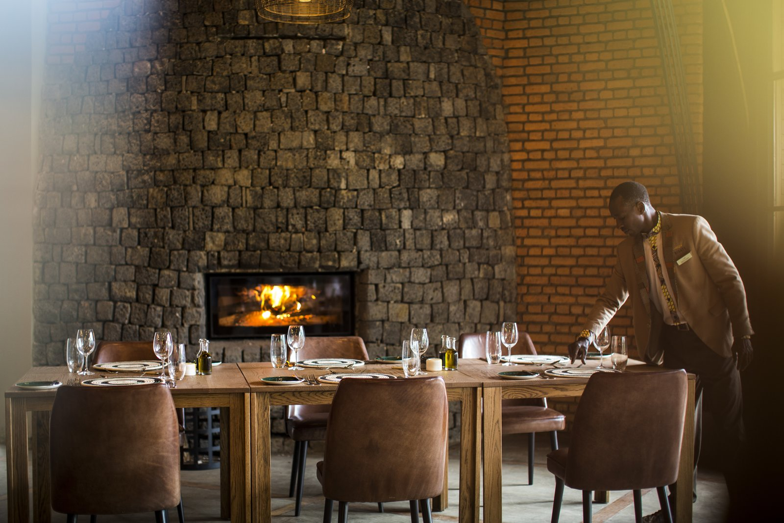 The dining area.  Photo 8 of 11 in Take an Eco-Escape to a Spherical Forest Villa in an Eroded Volcanic Cone in Rwanda