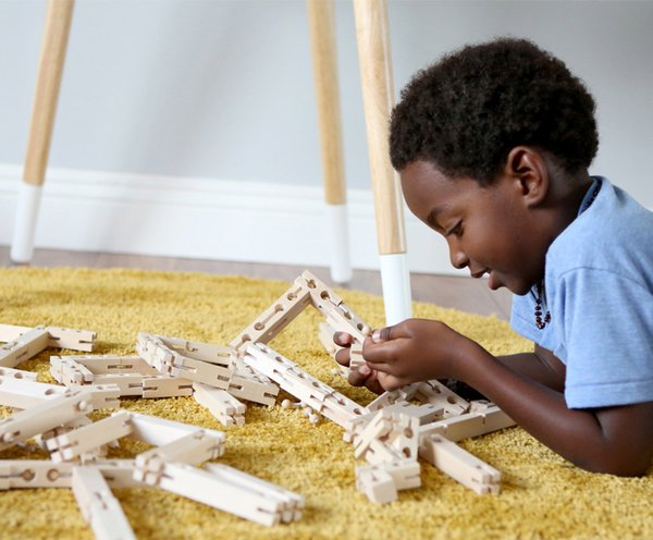 Bokah blocks are a family of four sizes: Longs, Halfys, Smalls, and Tinys. Bendys are single-size, flexible units that can stretch, pull, bend, and twist.  Photo 2 of 5 in Foster Your Child's Creativity With These Modern, Architectural Building Toys For Kids