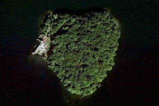 An aerial view of the heart-shaped island