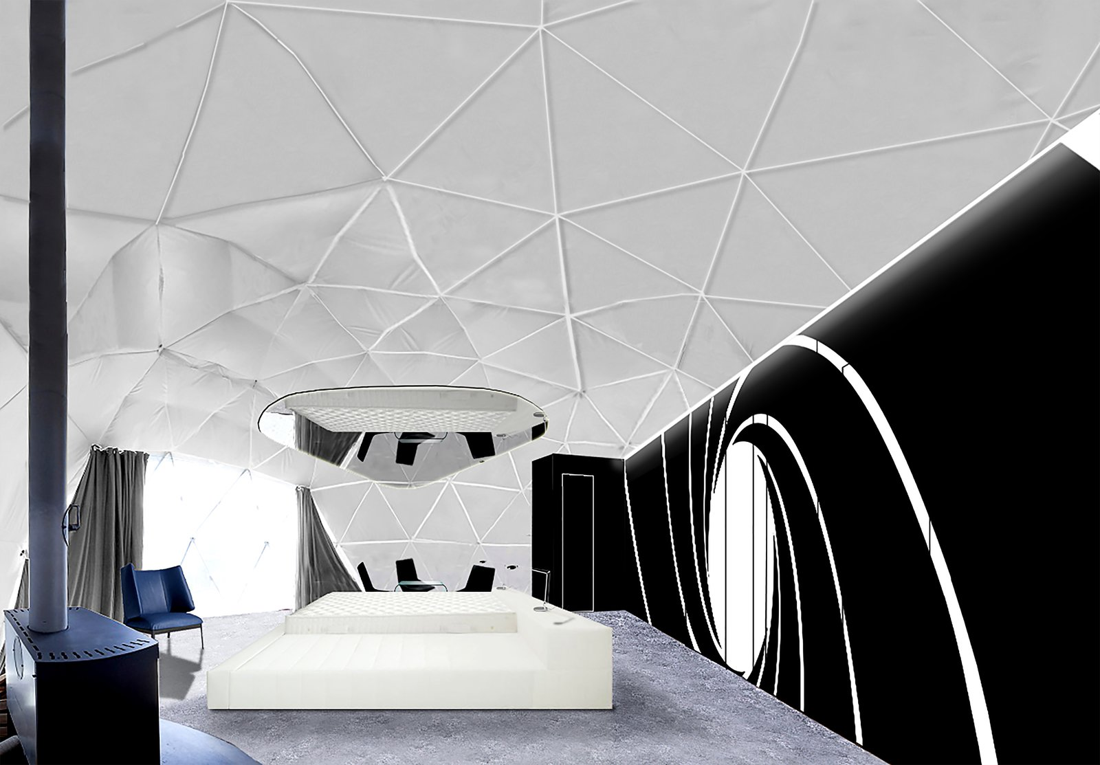 """Bedroom In December 2017, Whitepod will launch three themed Pod Suites, each with their own private sauna. The """"007 Pod Suite"""" will feature a sleek design, high-tech equipment, and a """"Bond girl""""-inspired, king-size bed.   Photo 8 of 11 in Go Eco-Friendly Glamping in These Geodesic Domes in the Swiss Alps"""