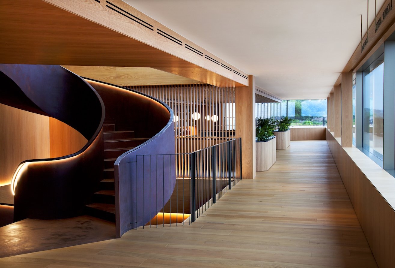 Staircase The lounge offers direct access to the deck and terraces and the remarkable view.  Photo 6 of 13 in Spain's Basque Coast Gets a New Modern Hotel With a Michelin-Starred Restaurant