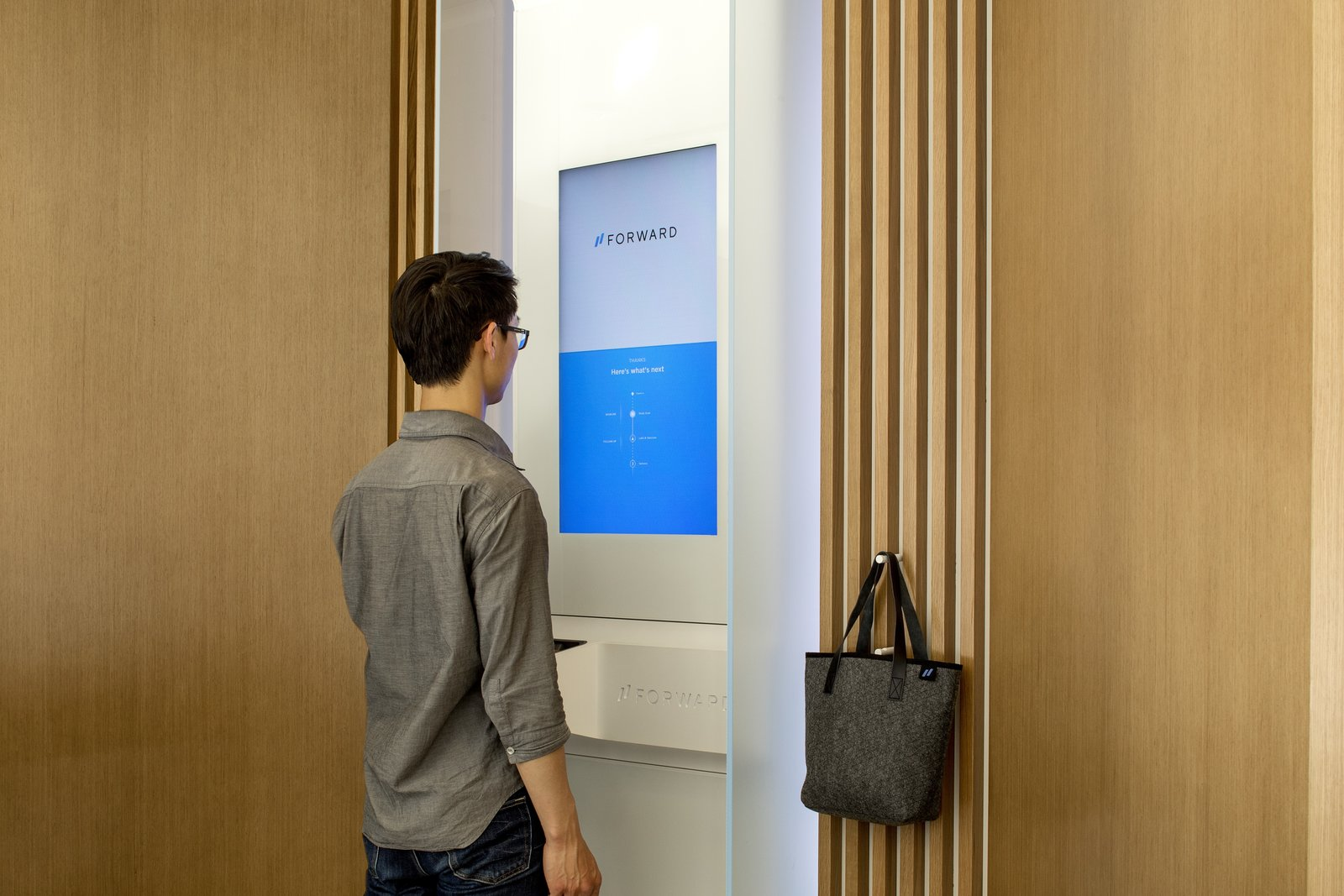 Office Patients can view their own body scan results from an app on their phone, while the doctors access the information inside the exam room.  Photo 7 of 12 in A Healthcare Start-Up Combines Modern Design With Top-Notch Technology and Care