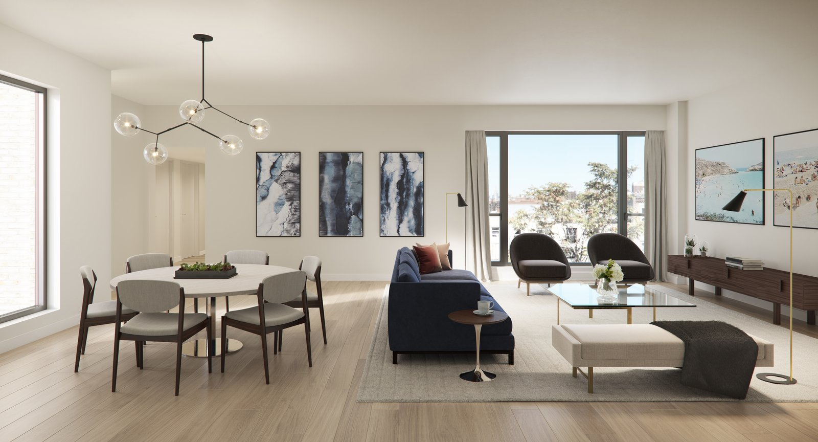 Living Room, Sofa, Bench, Chair, Coffee Tables, End Tables, Floor Lighting, Pendant Lighting, and Accent Lighting French-door inspired windows open up the space letting in ample natural lighting.  Photo 2 of 10 in 5 Easy Tips From Modern Condos For Creating a Scandinavian-Inspired Interior