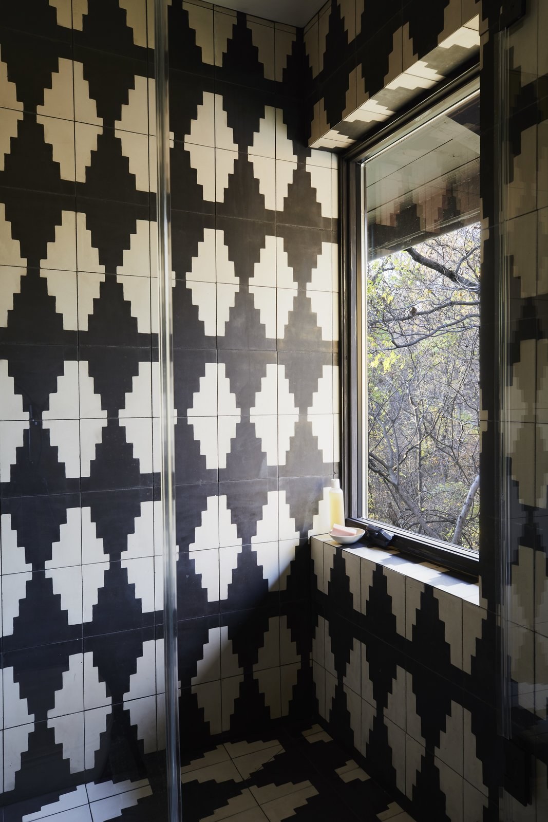 Bath, Stone Tile, Open, and Cement Tile Graphic black and white cement tile was added in the renovation.  Best Bath Stone Tile Open Photos from A Hudson Valley Home's Renovation Is Guided by its Best Midcentury Feature