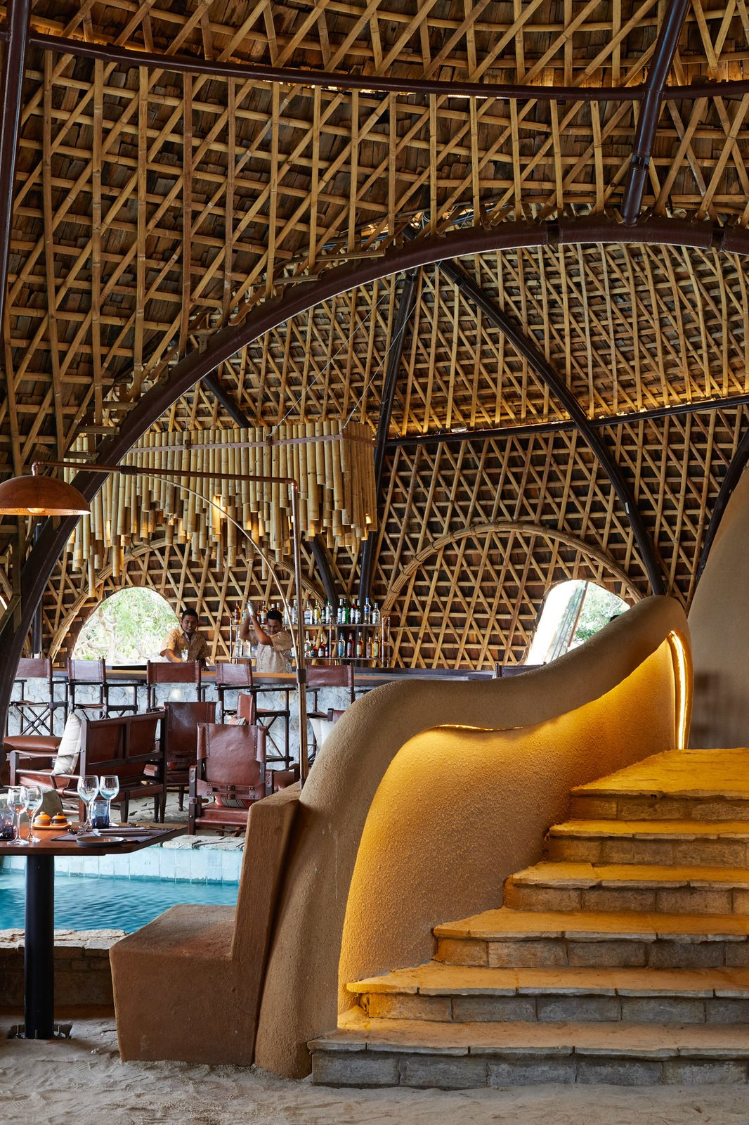 Staircase and Stone Tread For reservations, call +94 11 774 5730, email reservations@resplendentceylon.com or book online.  Wild Coast Tented Lodge from Stay in a Cocoon-Like Tent at a Safari Resort in Sri Lanka