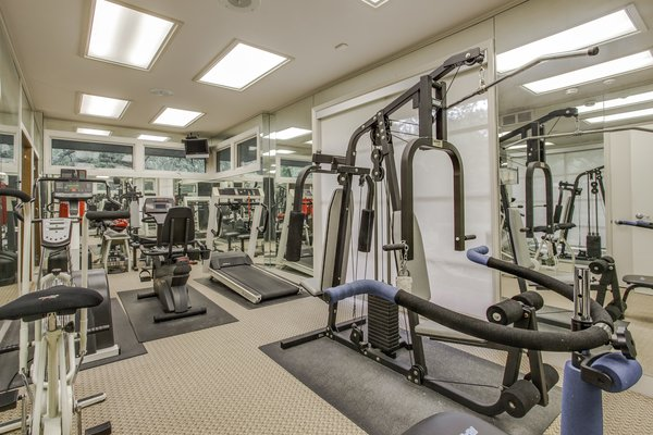 The exercise room also has an indoor whirlpool spa.