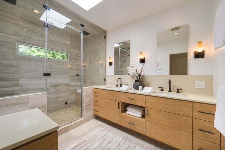 Bath, Enclosed, Wall, Recessed, Rug, Undermount, and Full The zen-like spa bathroom.  Best Bath Recessed Undermount Photos