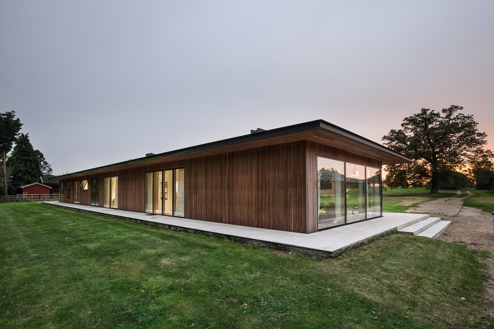 Exterior, Wood Siding Material, Mid-Century Building Type, Flat RoofLine, and Metal Roof Material The steel frame and  Photo 9 of 11 in A Scandinavian-Style Pavilion in England Is Listed For $2.1M