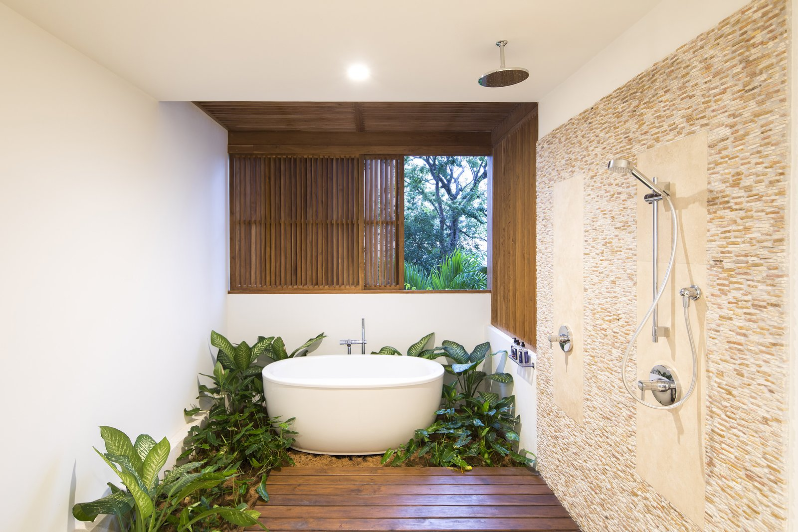 Bath, Stone Tile, Open, Freestanding, Medium Hardwood, and Ceiling The minimalist bathroom captures the atmosphere of the entire property.  Best Bath Stone Tile Open Photos from Slip Away to These Sleek New Villas in a Costa Rican Forest
