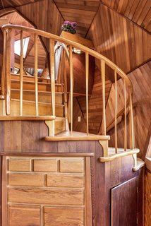 The handmade spiral staircase.