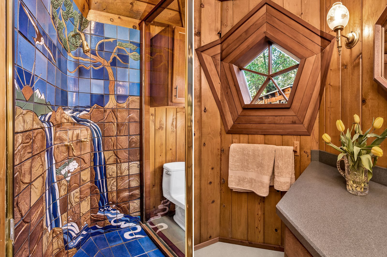 Bath Room, Wall Lighting, Mosaic Tile Wall, One Piece Toilet, Enclosed Shower, Laminate Counter, and Porcelain Tile Floor The custom tile work in the shower.  Photos from A Geodesic Getaway in Northern California Asks $475K